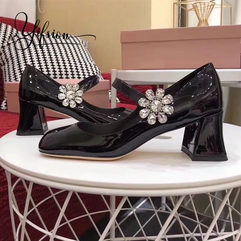 YIFSION New Spring Summer Patent Leather Pumps Women Shoes Square Toe Buckle Strap Chunky Heel Ladies Pumps Party Shoes WomanYIFSION New Spring Summer Patent Leather Pumps Women Shoes Square Toe Buckle Strap Chunky Heel Ladies Pumps Party Shoes Woman