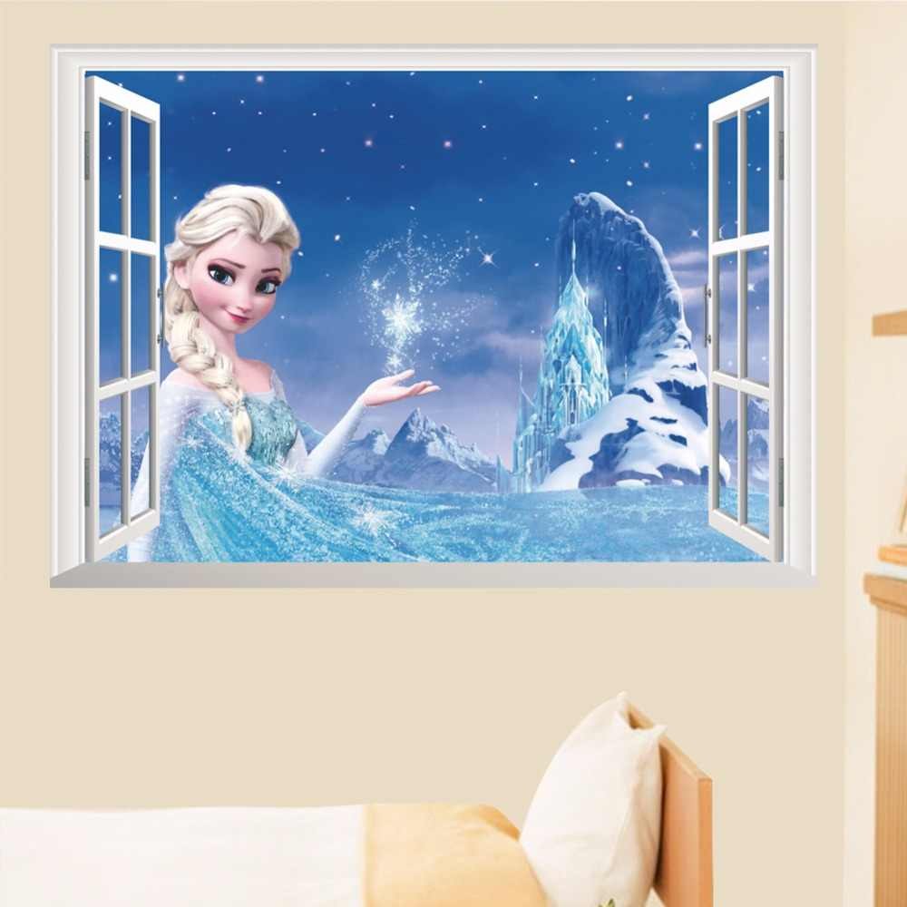 cartoon frozen Elsa princess  3D Window Children's room lovely wall stickers