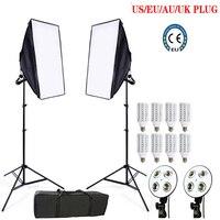 Фотостудия 8 светодиодный 24 Вт Softbox Комплект фотографические комплект освещения Камера & Фото аксессуары 2 Свет Стенд 2 softbox для Камера фото
