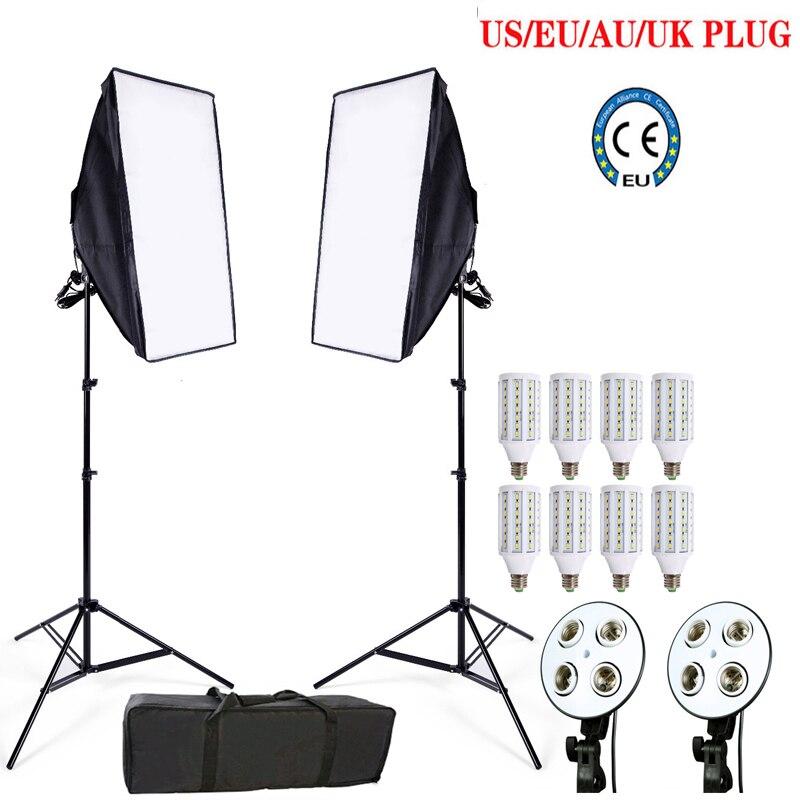 Kits de estudio de fotografía 8 LED 24 W Softbox kit Iluminación fotográfica kit Accesorios de cámara y fotografía 2 Soporte 2 Softbox para cámara foto
