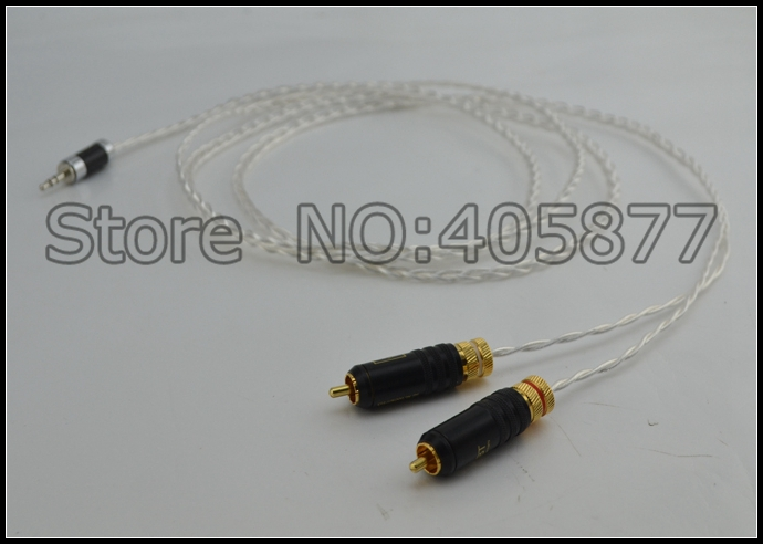 High quality occ silver plated Mini Stereo 3.5mm TO 2 RCA AUX Audio Cable 2M