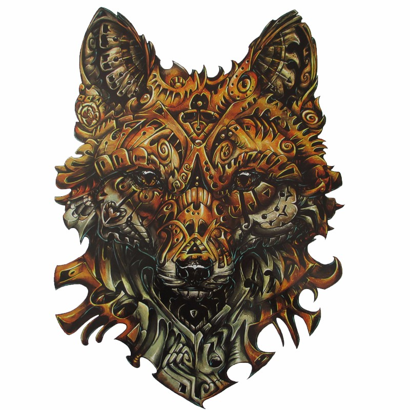 34x48cm Large full back machine wolf Tattoos Men and Women Waterproof Big Temporary Tattoo Stickers Fake Tattoo Designs 1