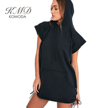 KMD KOMODA Hooded Black Dresses Women Two Side Procket Fleece Mini Dress Ladies Casual Loose Street Basic Vestido Female