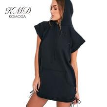 KMD KOMODA Hooded Black Dresses Women Two Side Procket Fleece Mini Dress Ladies Casual Loose Street Basic Vestido Female