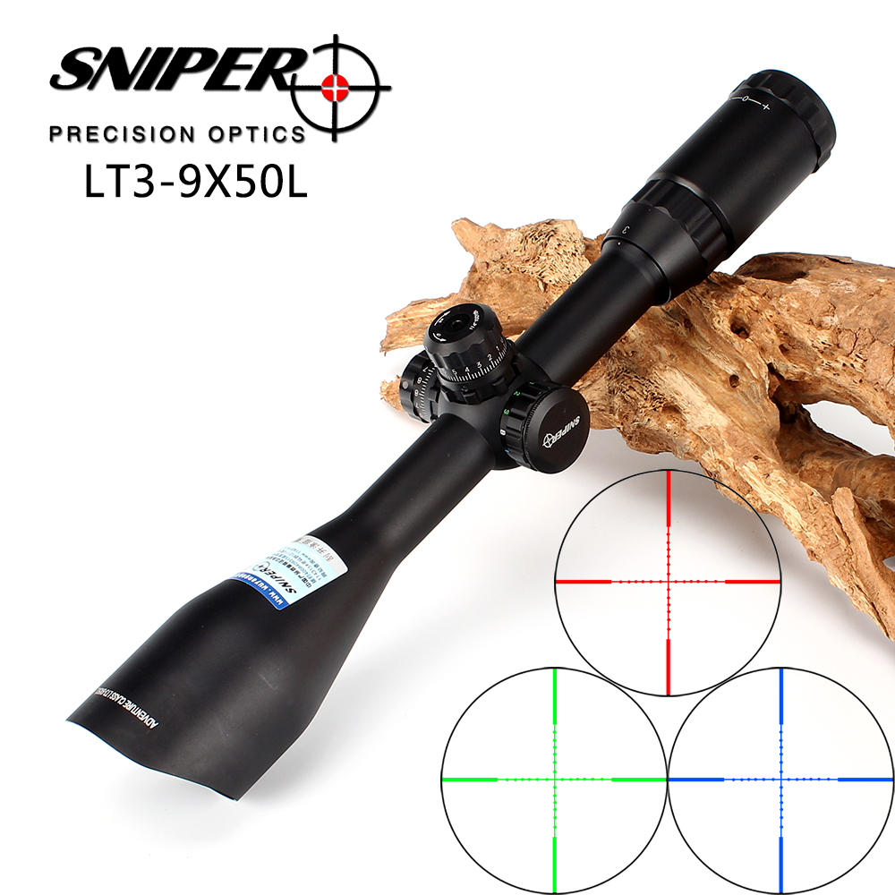 SNIPER 3-9X50 Angled Integral Sunshade Hunting Riflescope Full Size Tactical Optical Sight Mil dot Locking Rifle Scope sniper 3 9x40 rifle scope full size tactical optical sight illuminate mil dot riflescope hunting rifle scope with 25mm mount