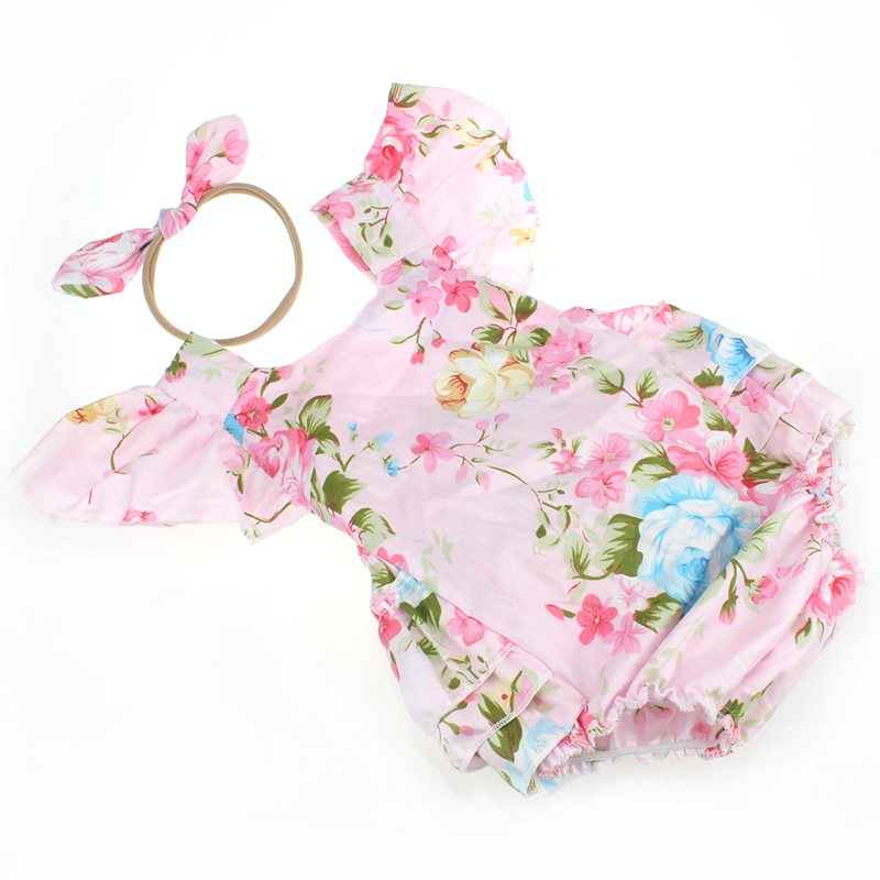 Baby Girls Flower Jumpsuits Sleeves rompers hot sell Baby Summer Boutique Clothing Fashion Infant Girls Floral clothes set