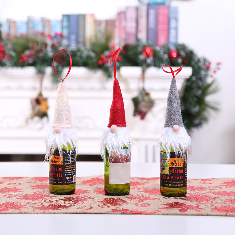 Dropwow Christmas Wine Bottle Decor Set Santa Claus Snowman Deer