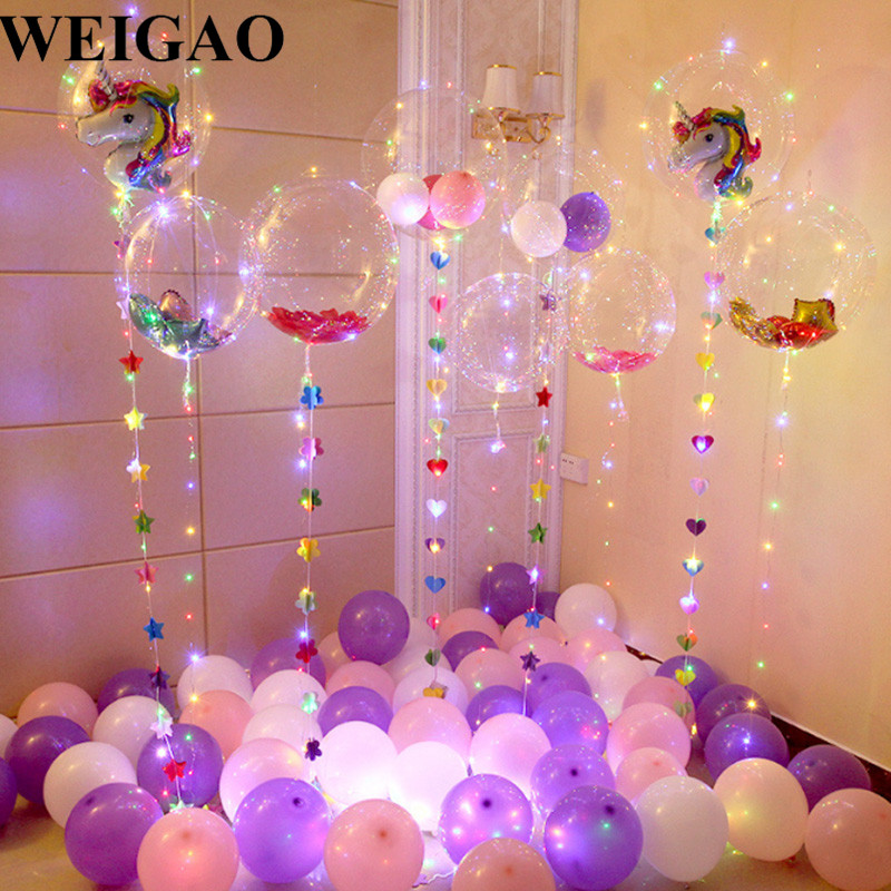 WEIGAO DIY Birthday Party Decoration Helium Bobo Balloons Unicorn Party Wedding Decoration Confetti Cake Decor Birthday Supplies