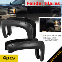 4Pcs Car Front Rear Fender Flares Mud Flaps Splash Guards Textured For Chevy Silverado 1500 2500HD/3500HD 2007 2013