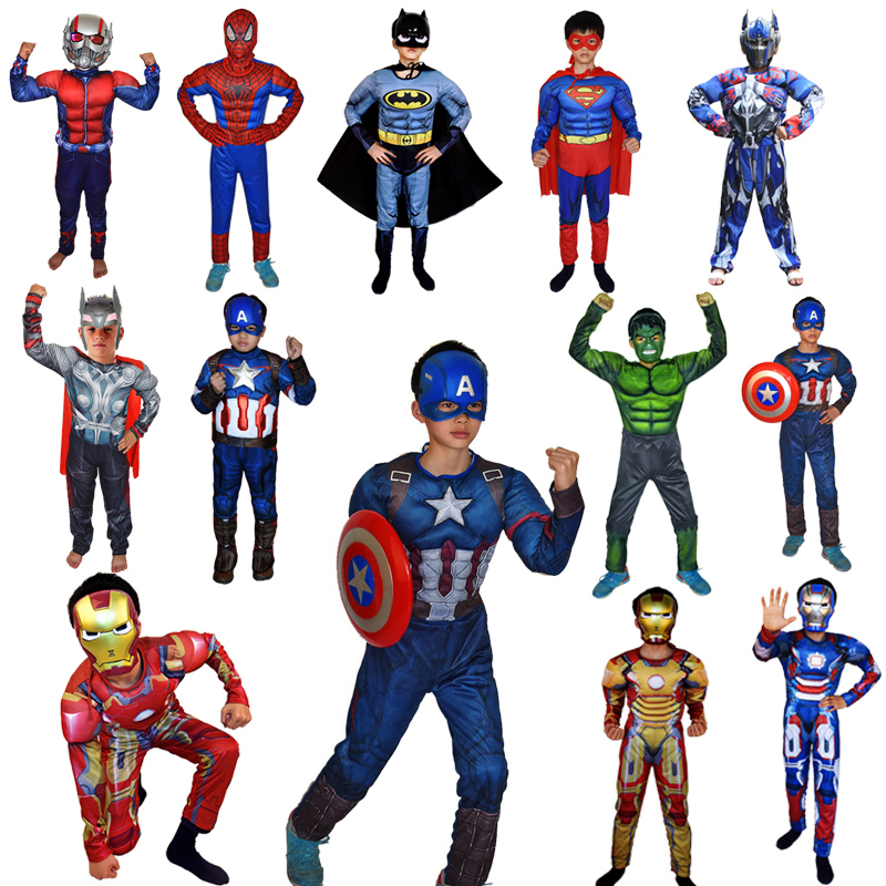 Kids Superhero Clothes Jumpsuit Captain Spider Hulk Thor Muscle Cosplay Costumes Halloween Christmas Gift