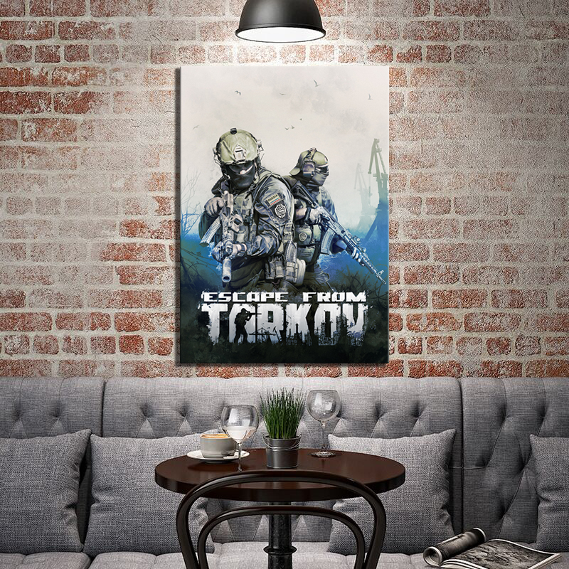 1 Piece HD Shooting Game Soldier Picture Print Escape From Tarkov Video Game Poster Wall Sticker Canvas Painting for Wall Decor 1