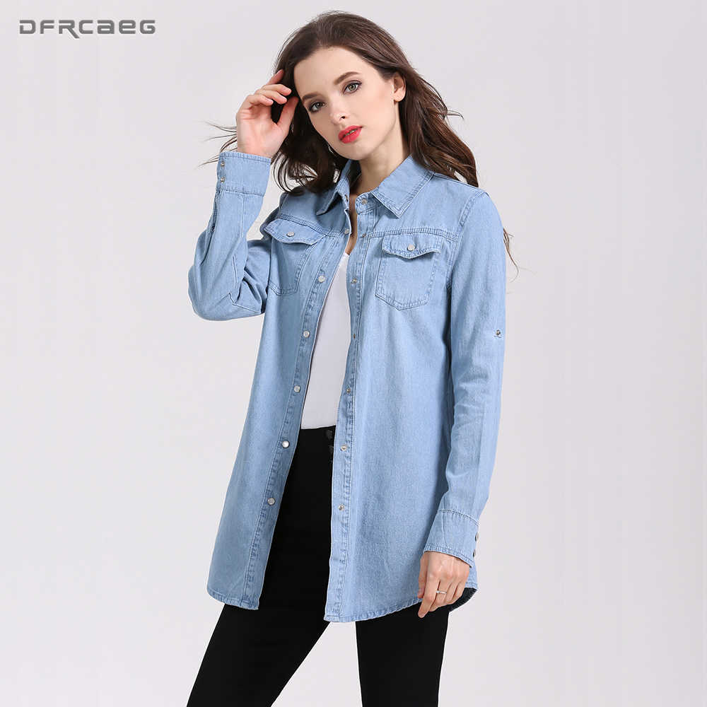 Plus Size Fashion Autumn Long Shirts For Women Casual Denim Shirt Long Sleeve Slim Blusa Jeans Drawstring Tops New Chemise Femme