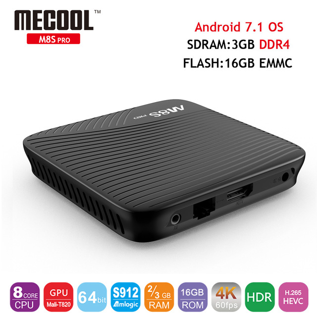 M8S Pro TV Box Android 7.1 Amlogic S912 64 bit Octa Core ARM Cortex-A53 3GB ROM 16GB 2.4G/5G wifi Bluetooth 4.1 4K Player M8SPro