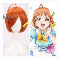 Japanse Anime Liefde Live! Sunshine! Takami Chika Oranje Pruik Comic-Con Cosplay pruik met braid