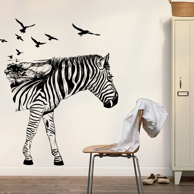 Creative Zebra Birds Large Wall Stickers Decals Kids Room Decor Nursery School Diy Removable
