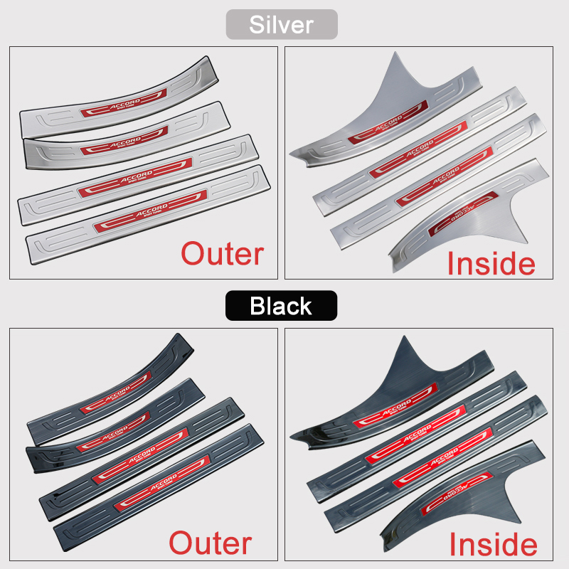 Stainless Steel Car Styling Door Sill Scuff Plate Welcome Pedal Threshold Pedals For Honda Accord 10th 2018 Accessories
