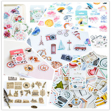 46pcs/box Lovely Good everyday weather flowers album decorations DIY stickers diary scrapbooking School office stationery