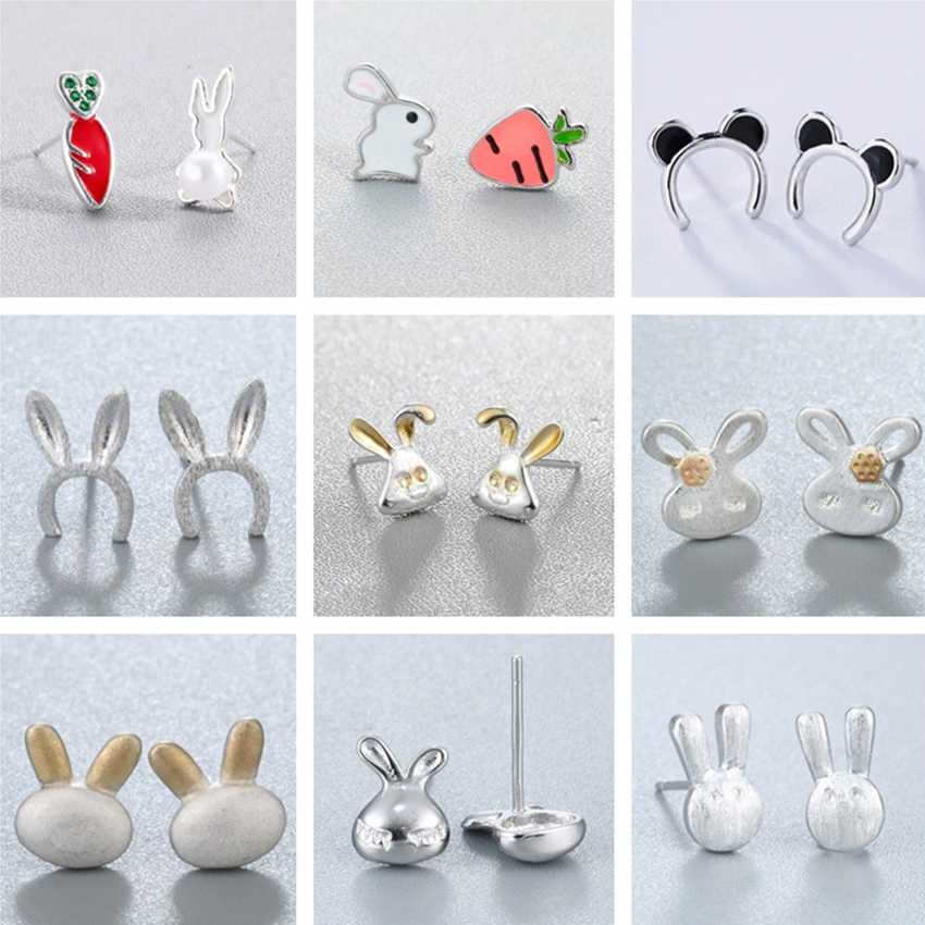 Kinitial Lovely Animal Bunny Rabbit Carrot Stud Earrings for Women Creative Cartoon Enamel Earrings Gifts Girl Kids Ear Bijoux