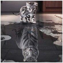 Pintura diamante diy 5d pintura diamante ponto cruz quadrado mosaico diamante bordado gatos tigres padrões de costura