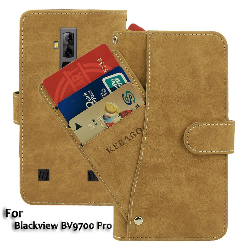 Vintage Leather Wallet Blackview BV9700 Pro Case 5.84