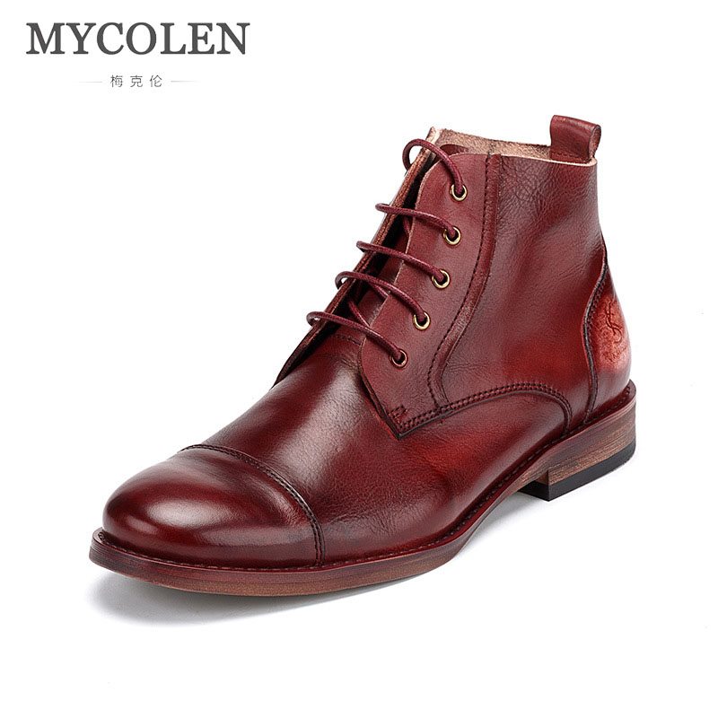 MYCOLEN 2018 New Arrivals Handmade Fashion Ankle Boots Winter Autumn Men'S Motorcycle Martin Boots Men Brand Designer Snow Boots mycolen new men s winter leather ankle boots fashion brand men autumn handmade boots leisure martin autumn boots mens shoes