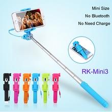 RK-Mini3 Универсальный Портативный Проводной Растягивается Selfie Стик Для iPhone Samsung Galaxy Sony HTC Huawei Xiaomi Придерживайтесь Штатив Монопод