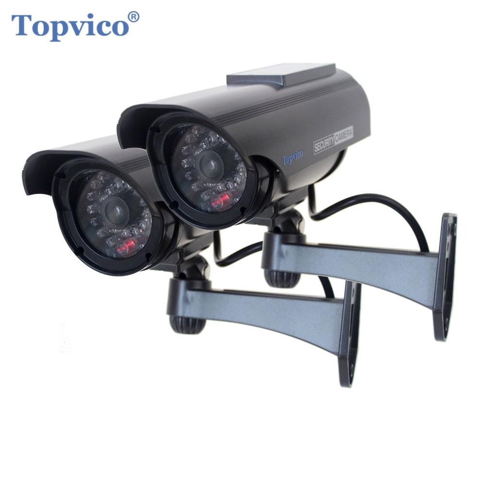 Topvico 2pcs Simulation Fake Camera Solar Simulation Dummy CCTV Camera Battery Powered Outdoor Surveillance Camera scare thieves simulation monitor camera