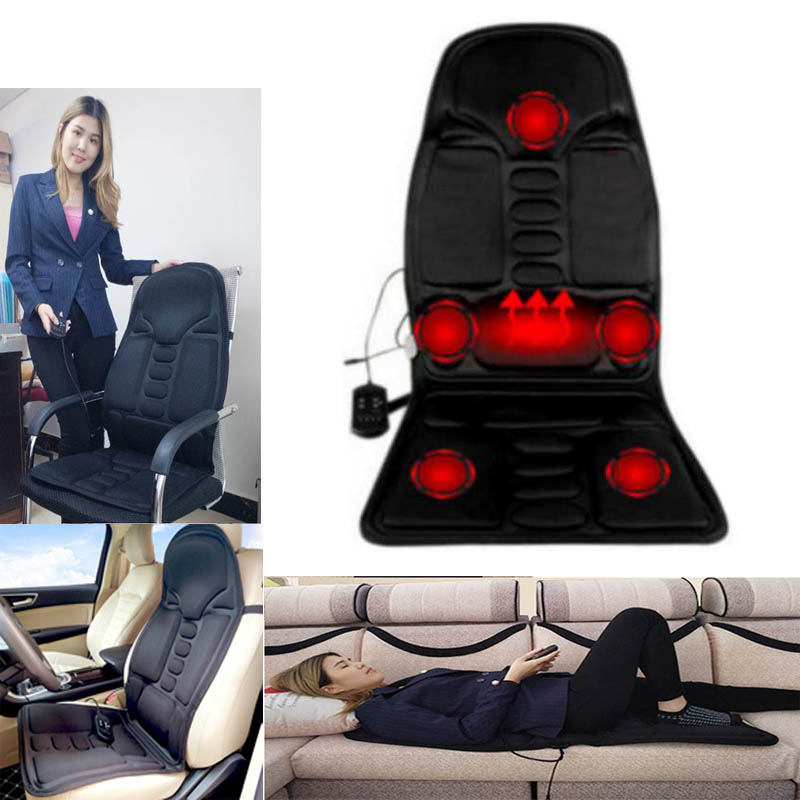 Car Seat Heat Vibrator Massager Cushion Back Muscle Relief Chair Massage Mat