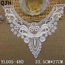 1pc Beautiful Embroidered Polyester Applique Lace Trim Lace Collar patches Flower Lace Collars kragen neckline sewing applique