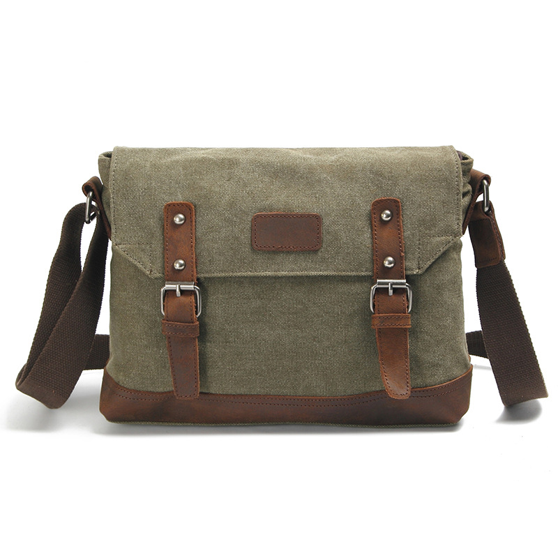 Army Green Vintage Men's Messenger Bags Canvas Shoulder Bag Fashion Men Travel Crossbody Bag For Boy School Shoulder Bags G036 casual canvas women men satchel shoulder bags high quality crossbody messenger bags men military travel bag business leisure bag
