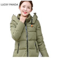 Lucky Panda 2016 Women Autuam Winner Slim Long Cotton Padded Jacket Appliques S 3XL Black White