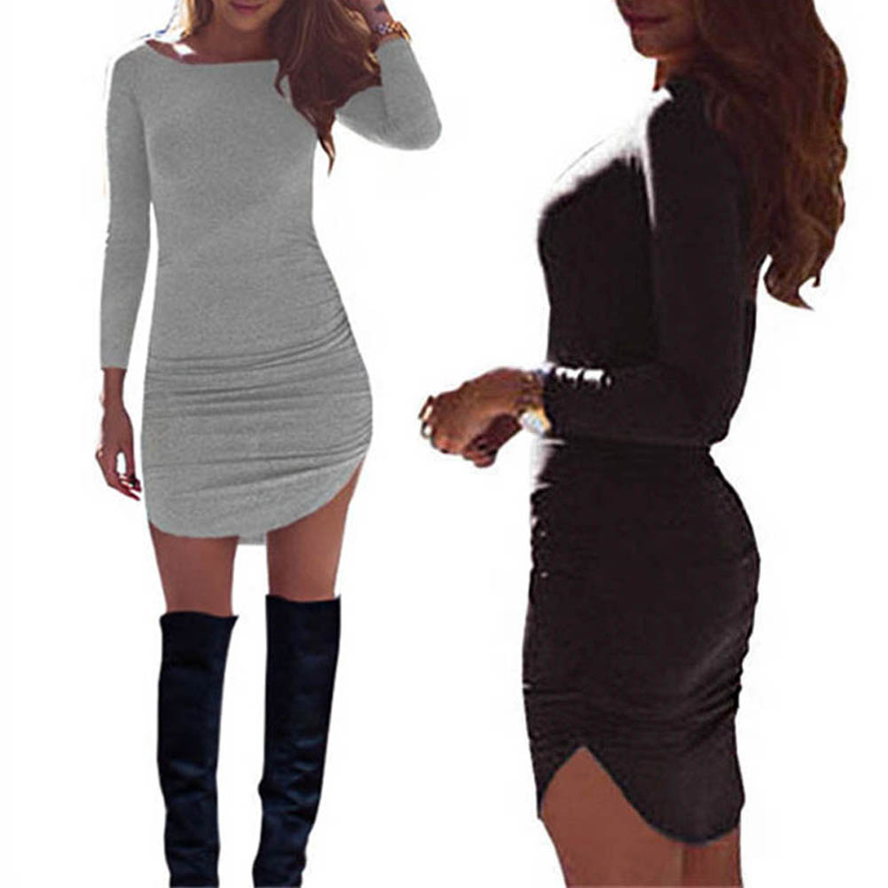 Casual Women Long Sleeve Mini Dress Party Evening Bodycon Slim Fit O-neck Dresses FS99