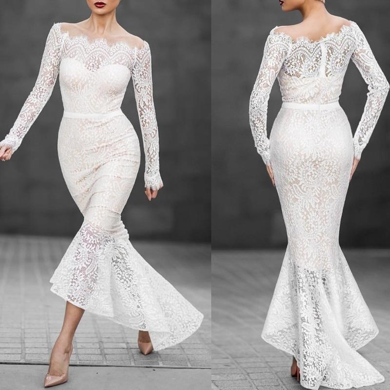 Для женщин белый длинный рукав лодка Средства ухода за кожей Шеи Кружево рыбий хвост вечернее белое платье