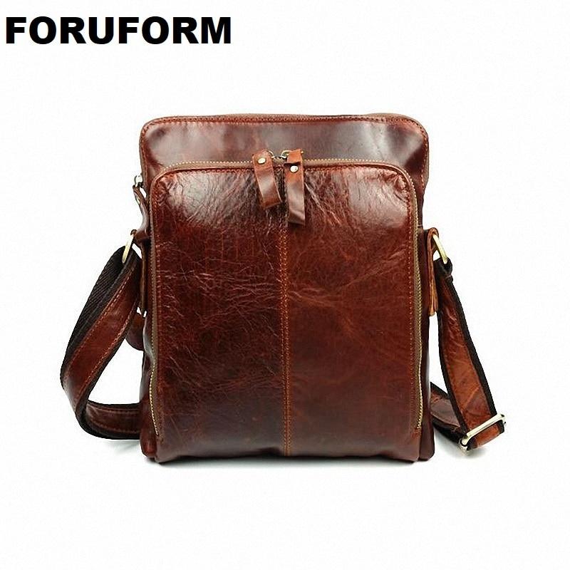 Luxury Famous Brand First Layer Cowhide Bag For Men Vintage Shoulder Crossbody Bag For Genuine Leather Men Messenger Bags LI 442