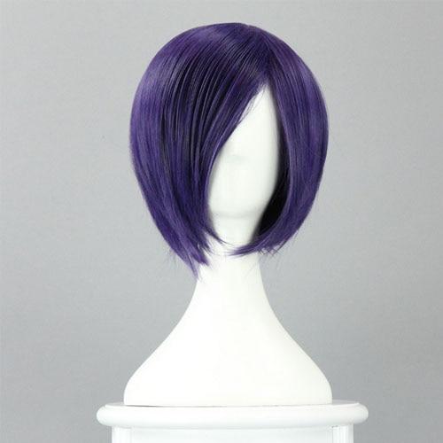 Anime Tokyo Ghoul Touka Kirishima Purple Short Straight Wig Halloween Cosplay anime tokyo ghoul akira mado anime cosplay wig heat resistant fibre mado akira cos wig hair free wig cap free shipping