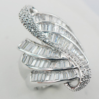 Micropave White Crystal Zircon 925 Sterling Silver Ring Size 7 8 9 A08