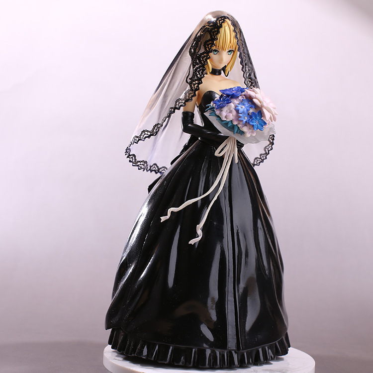 Fate/Stay Night Saber 10th Anniversary Black Wedding Dress Ver. Cute Doll PVC Action Figure Collectible Model Toy 25cm KT3358 marvel select avengers hulk pvc action figure collectible model toy 10 25cm