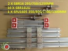2X SBR16-293/750/1250mm lineales rieles 10 UNIDS SBR16UU + 3 Unidades husillo de bolas RM1605-350/800/1300/1300mm no BK/BF12 Soporte base