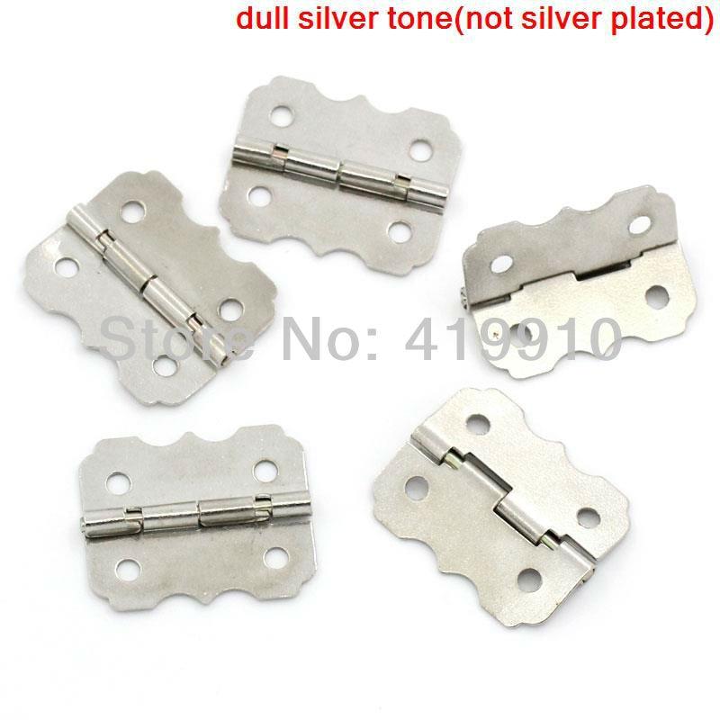 Free Shipping-50pcs Silver Tone 4 Holes Box Butt Hinges 24x20mm J1276
