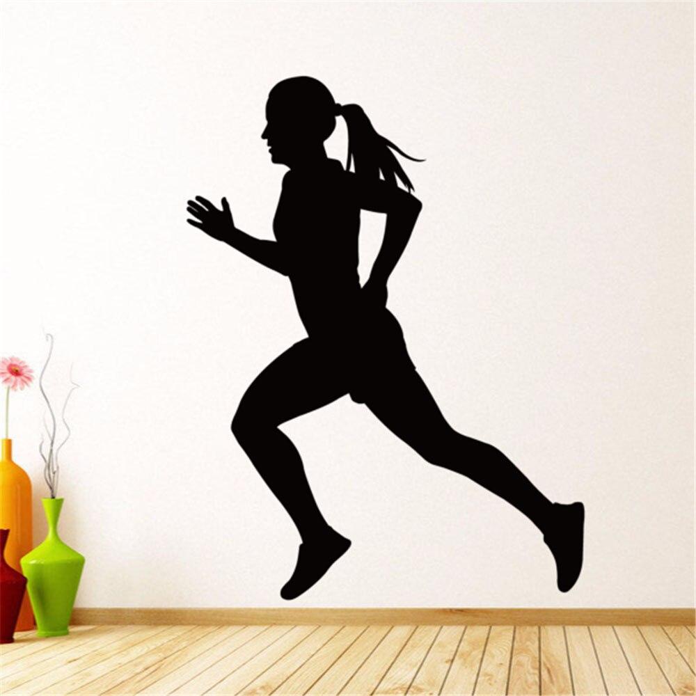 Running Women Sport Wall Decal Home Decor Wall Sticker Kids Rooms Wall Stickers