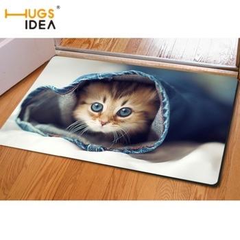 Hugsidea kawaii dier kat ontwerp carpet karpetten voor woonkamer badkamer slaapkamer antislip entree deur vloermat tapic salon
