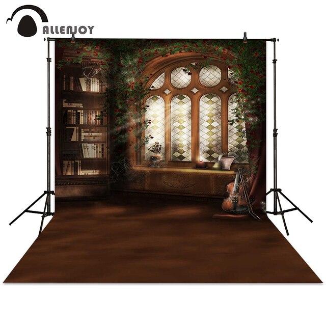 Allenjoy Photography Backdrop Window Bookshelf Retro Background For Photo Studio Indoor Photocall Booth