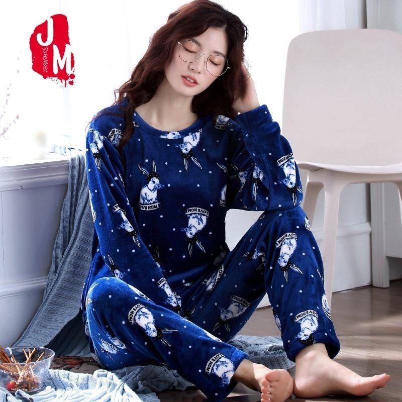 Cartoon Pajamas Female Winter Warm Coral Fleece Women Pajamas Set 2018 Flannel T