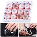 12 colores/set Botella pigmento Del Brillo Espejo cromo Aurora de polvo Del Polvo de Uñas de Arte de uñas Lentejuelas Escarcha Pigmento de Cromo