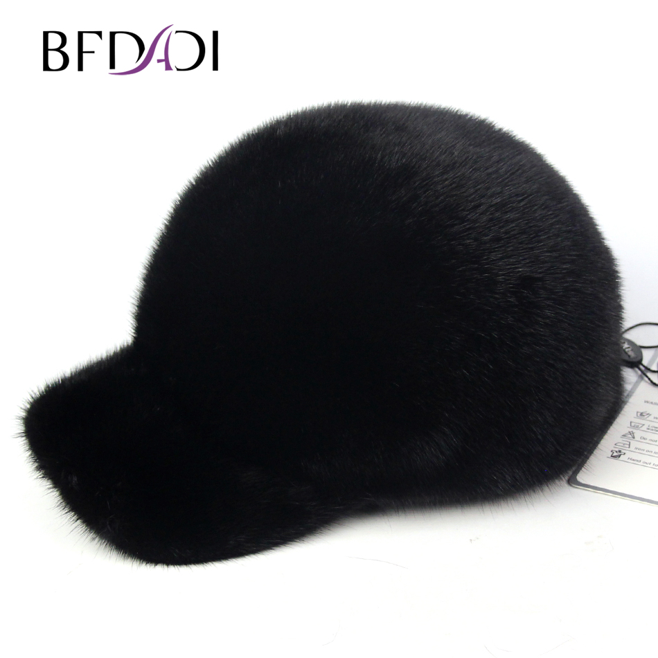 BFDADI Real genuine mink hat winter Russian men's warm caps men Baseball Cap brand winter hat knitted hats men women scarf caps mask gorras bonnet warm winter beanies for men skullies beanies hat