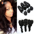 Malaysian Loose Wave With Frontal 7A Ear To Ear Lace Frontal With Bundles Malaysian Virgin Hair With Frontal Closure Human Hair