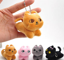 1X Color Random - 7cm little Cat Plush Toy , Stuffed Toy , Pendant Keychain Gift Plush Toy for Wedding Bouquet Doll TOY(China)