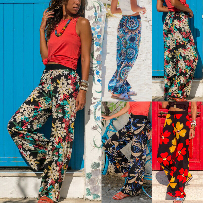 Hot Sale 2019 Women Summer Ladies Sexy Comfy Baggy Trousers Boho Hippie   Wide     Leg   Printed Floral Casual Elastic Waist Trousers