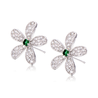 Korean Jewelry Elegant Womens Vintage Large Flower Lucky Fashion Stud Earrings Crystal White Gold Plated Wholesale