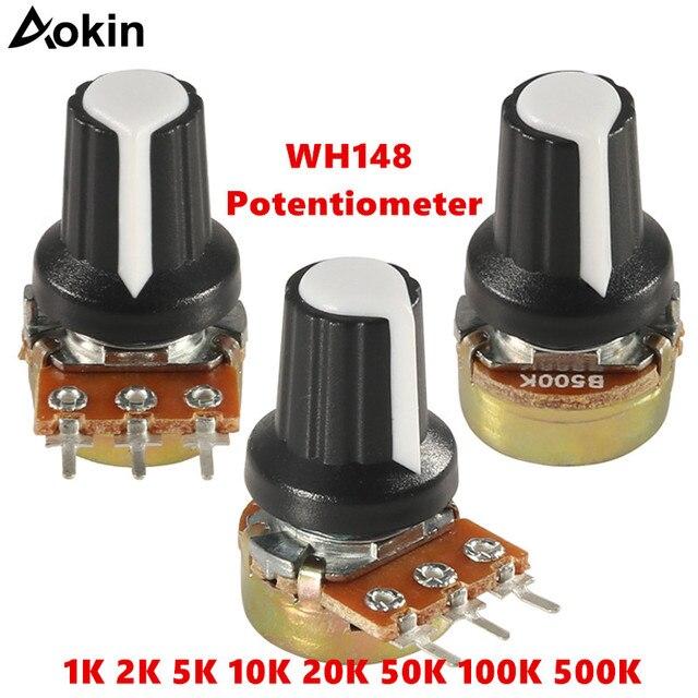 WH148 B1K B2K B5K B10K B20K B50K B100K B500K 3Pin eje de 15mm amplificador potenciómetro 1 K 2 K 5 K 10 K 50 K 100 K 500 K
